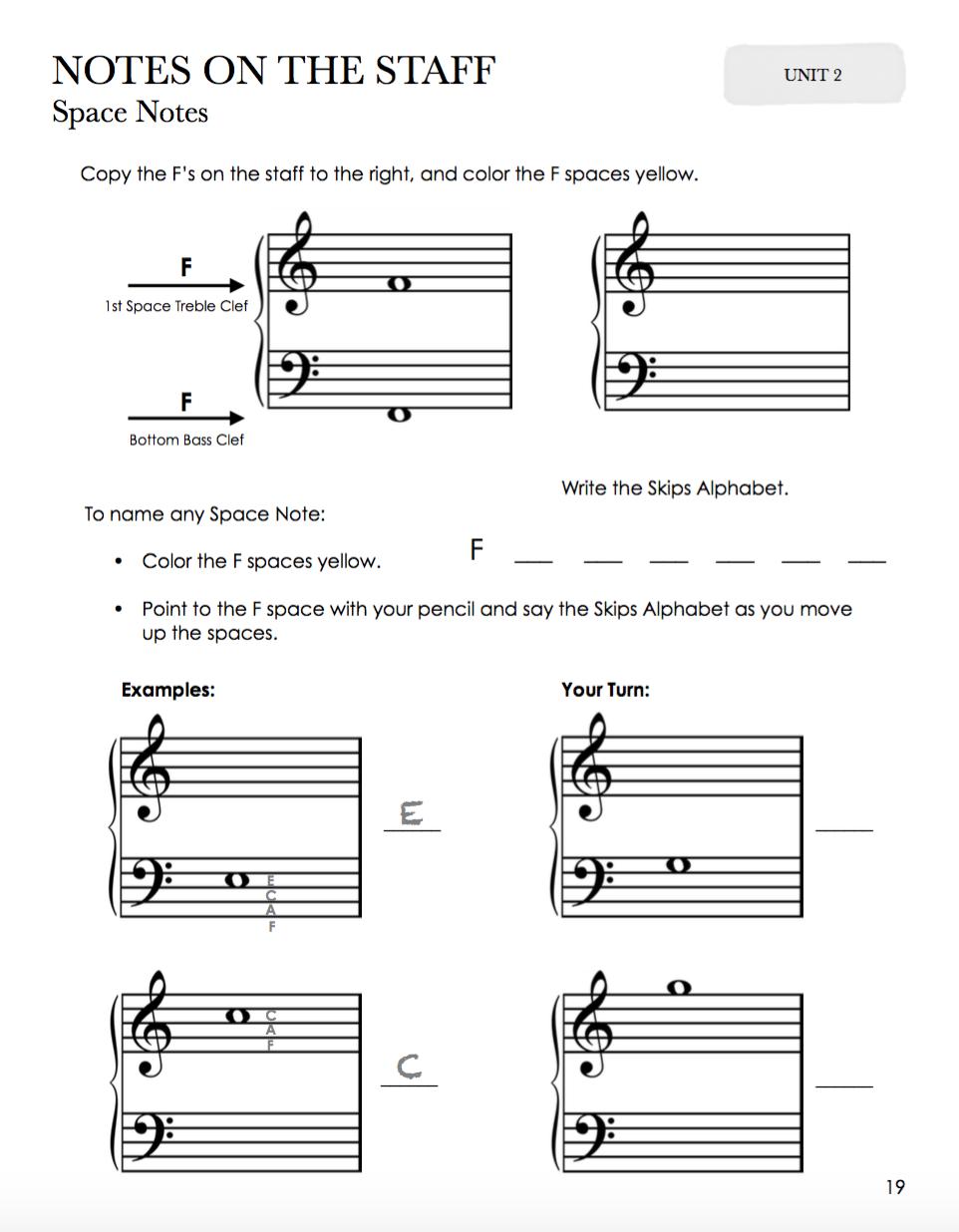 NOTAS NOS ESPAÇOS DA PAUTA PIANO LIVRO DE TEORIA PIANO SAFARI 2 LOJA MINEIRA DO MUSICO COMPRAR PIANO SAFARI ENCOMENDAR  LIVRO